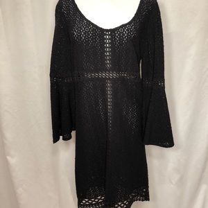 Black long bell sleeve cotton knit dress.  Sz M
